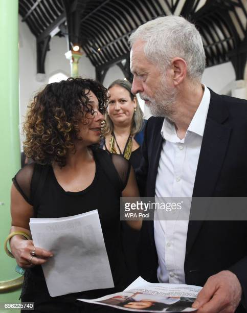 Labour leader Jeremy Corbyn meets a local resident at St Clement's Church in west London where volunteers have provided shelter and support for...