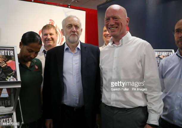 Labour leader Jeremy Corbyn meets Matt Wrack General Secretary of the Fire Brigade as he visits the exibition stands at the Labour Party conference...