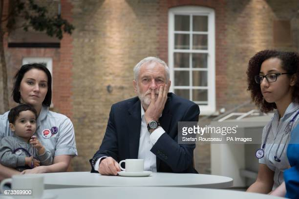 Labour leader Jeremy Corbyn meets NHS nurses student nurses and midwives to discuss Labouracircs three point election guarantee for NHS staff at the...