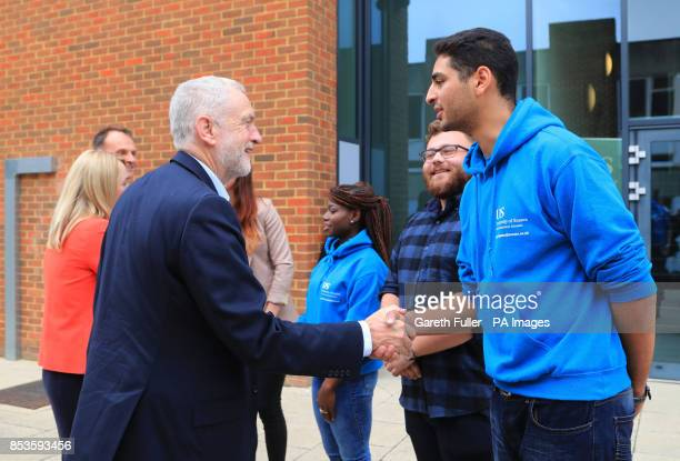 Labour leader Jeremy Corbyn meets students on a visit to the University of Sussex during the Labour Party conference in Brighton