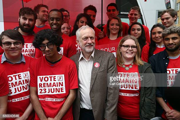 Labour leader Jeremy Corbyn poses for a photograph with party activists as he launches the Labour In for Britain EU campaign battle bus on May 10...