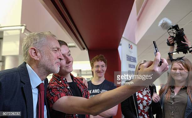 Labour leader Jeremy Corbyn poses for a selfie with a student as he visits the Science Technology Engineering and Maths further education college on...