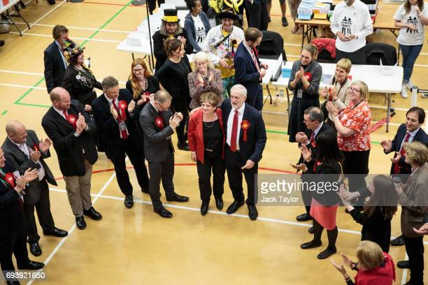 Labour Leader Jeremy Corbyn puts his arm around Shadow Foreign Secretary Emily Thornberry as he arrives at the Sobell Leisure Centre during the...