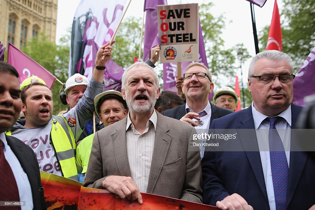Labour leader <a gi-track='captionPersonalityLinkClicked' href=/galleries/search?phrase=Jeremy+Corbyn&family=editorial&specificpeople=2596361 ng-click='$event.stopPropagation()'>Jeremy Corbyn</a> (centre), Sir Brendan Paul Barber, chair of the Advisory, Conciliation and Arbitration Service Council, (right), and Trade Unionist <a gi-track='captionPersonalityLinkClicked' href=/galleries/search?phrase=Len+McCluskey&family=editorial&specificpeople=6590612 ng-click='$event.stopPropagation()'>Len McCluskey</a> (centre right at rear) join steel workers on college green at the end of a march through Whitehall on May 25, 2016 in London, England. Steelworkers marched through Westminster today to highlight the crisis in the steel industy. A shortlist of bidders is currently being drawn up for the UK assets of Tata Steel.
