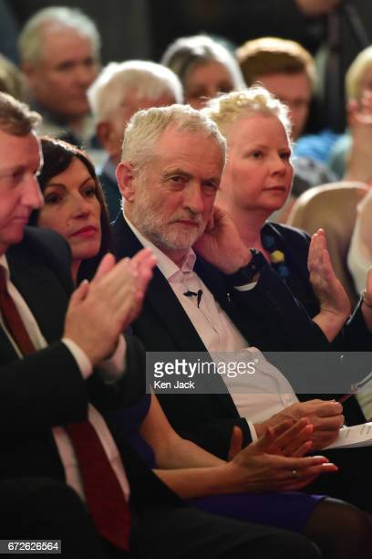 Labour leader Jeremy Corbyn sits in the audience before making a general election campaign speech at a Labour Party event on April 24 2017 in...