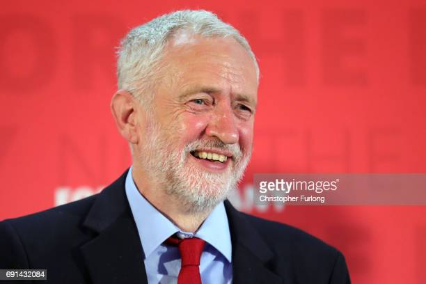Labour leader Jeremy Corbyn smiles as he delivers a speech during a General Election campaign visit at York Innovation Centre on June 2 2017 in York...