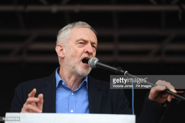 Labour leader Jeremy Corbyn speaking at a rally in central London in support of the NHS