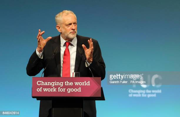 Labour leader Jeremy Corbyn speaking at the TUC conference at the Brighton Centre in Brighton