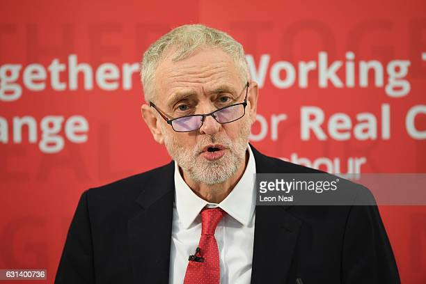 Labour Leader Jeremy Corbyn speaks about Labour's plan for Brexit on January 10 2017 in Peterborough England The Labour Leader delivered a speech...