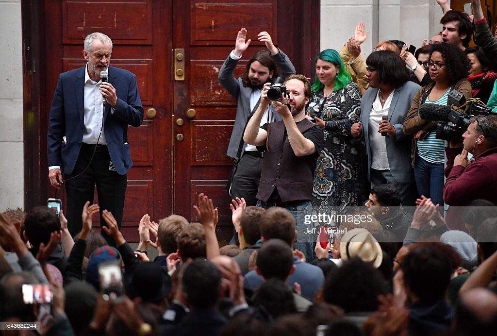 Labour leader <a gi-track='captionPersonalityLinkClicked' href=/galleries/search?phrase=Jeremy+Corbyn&family=editorial&specificpeople=2596361 ng-click='$event.stopPropagation()'>Jeremy Corbyn</a> speaks at a 'Keep Corbyn' rally at the School of Oriental and African Studies on June 29, 2016 in London, England. Mr Corbyn has suffered a wave of resignations from his shadow cabinet and shadow ministerial team, as well as calls for his resignation from across the Labour party.