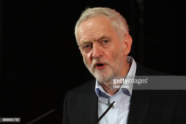 Labour leader Jeremy Corbyn speaks during a campaign rally to launch Labours Cultural Manifesto at Fruit on May 22 2017 in Hull England Britain goes...