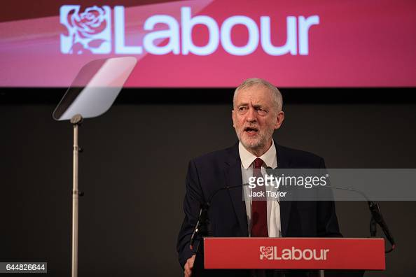 Labour Leader Jeremy Corbyn speaks during a press conference on Brexit at 2 Savoy Place on February 24 2017 in London England The Labour Leader spoke...