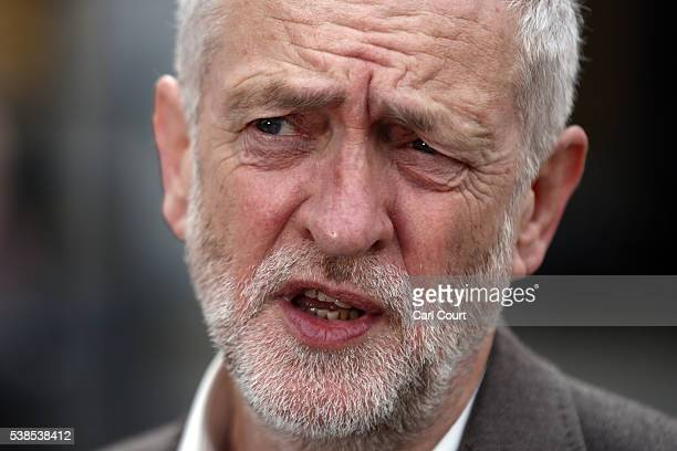 Labour leader Jeremy Corbyn speaks during an event to unveil a new poster from the Labour In for Britain campaign to 'Remain' in the EU on June 7...