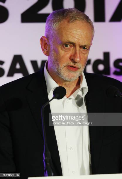 Labour leader Jeremy Corbyn speaks during the the PinkNews awards dinner at One Great George Street in London