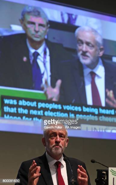 Labour leader Jeremy Corbyn speaks during the Unison annual conference at the Brighton Centre in East Sussex