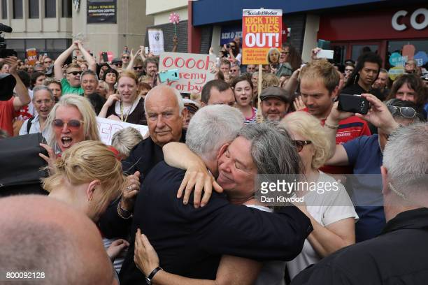Labour Leader Jeremy Corbyn speaks to activists outside the conference centre after addressing delegates at the Unison Conference on June 23 2017 in...