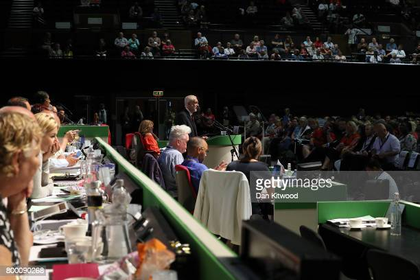 Labour Leader Jeremy Corbyn speaks to delegates at the Unison Conference on June 23 2017 in Brighton England The Labour Party leader addressed the...