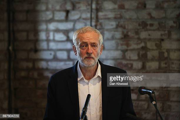 Labour leader Jeremy Corbyn speaks to party supporters and members of the press during a manifesto launch on August 30 2016 in London England Mr...