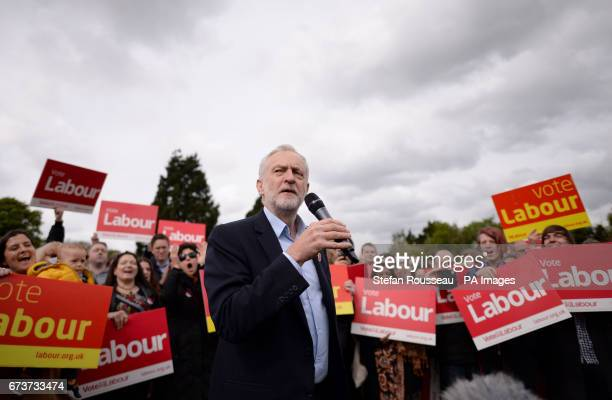 Labour leader Jeremy Corbyn speaks to supporters at a rally in Harlow