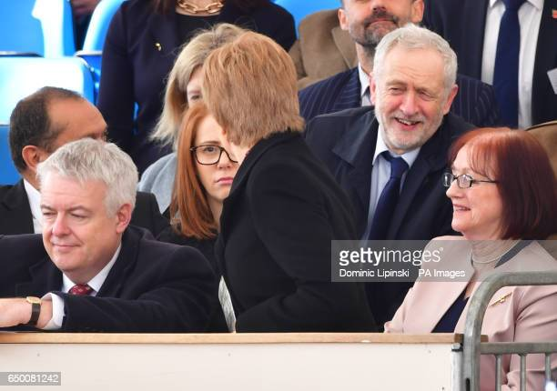Labour leader Jeremy Corbyn speaks with First Minister Nicola Sturgeon as they attend a Military Drumhead Service on Horse Guards Parade in London...