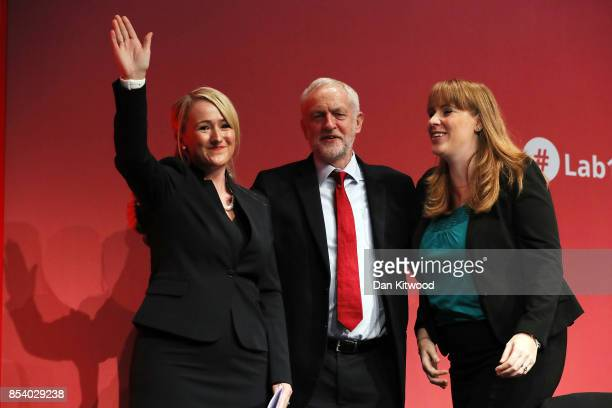 Labour Leader Jeremy Corbyn stands with Shadow Secretary of State for Business Energy and Industrial Strategy Rebecca LongBailey and Shadow Secretary...