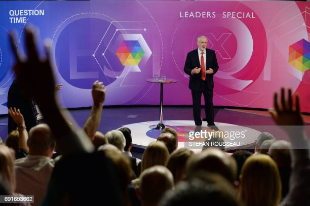 Labour leader Jeremy Corbyn takes part in 'The Question Time Leaders Special' hosted by David Dimbleby and broadcast live from York in northern...