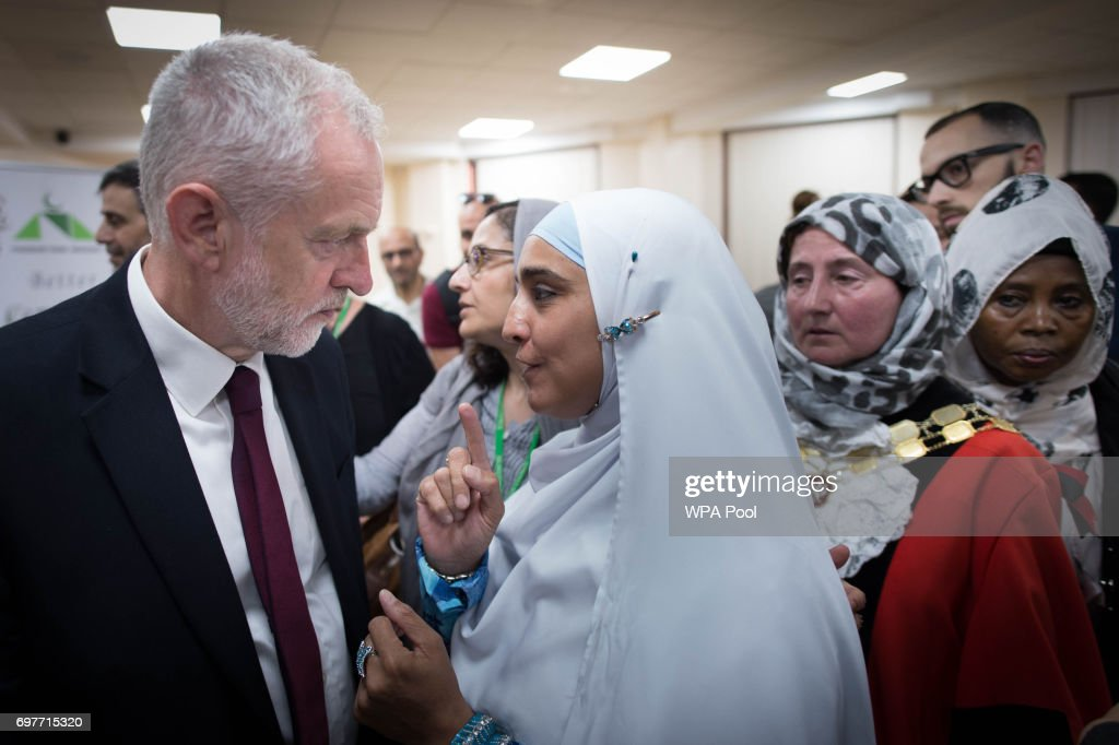 Labour leader Jeremy Corbyn talks to worshippers and local residents at Finsbury Park Mosque on June 19, 2017 in London, England. Worshippers were struck by a hired van as they were leaving Finsbury Park mosque in North London after Ramadan prayers. One person was killed in the terror attack with a further 10 people injured.