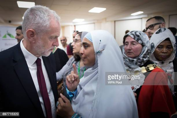 Labour leader Jeremy Corbyn talks to worshippers and local residents at Finsbury Park Mosque on June 19 2017 in London England Worshippers were...
