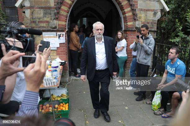 Labour leader Jeremy Corbyn visits a volunteer centre at St Clement's Church near the scene of the Grenfell Tower fire on June 15 2017 in London...