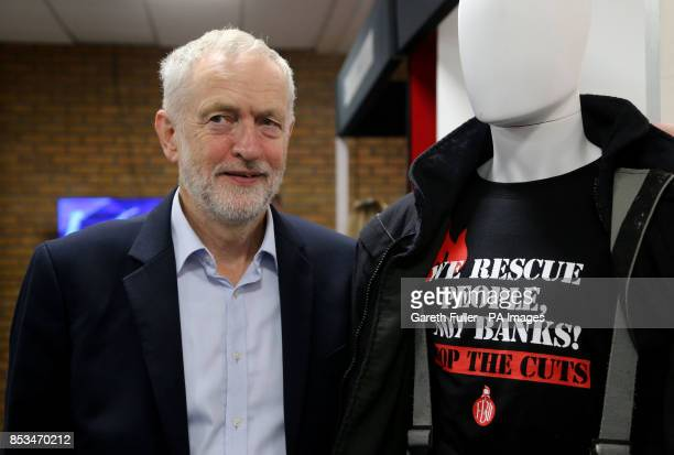 Labour leader Jeremy Corbyn visits the exibition stands at the Labour Party conference in Brighton