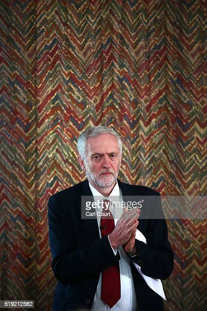 Labour leader Jeremy Corbyn waits to address supporters and members of the media as he launches his party's local election campaign on April 5 2016...
