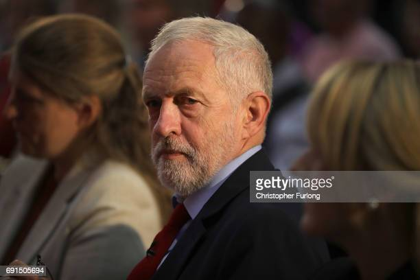 Labour leader Jeremy Corbyn waits to deliver a speech during a General Election campaign visit at York Innovation Centre on June 2 2017 in York...