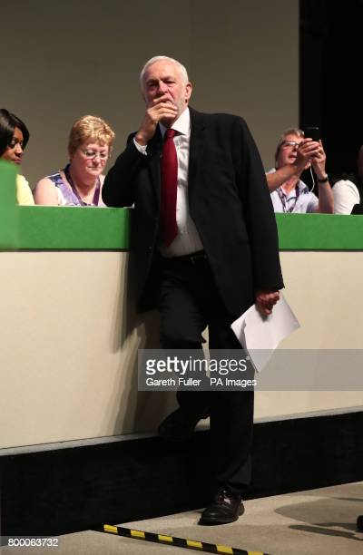 Labour leader Jeremy Corbyn waits to speak during the Unison annual conference at the Brighton Centre in East Sussex