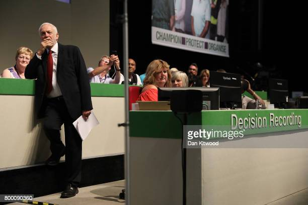 Labour Leader Jeremy Corbyn waits to speak to delegates at the Unison Conference on June 23 2017 in Brighton England The Labour Party leader...