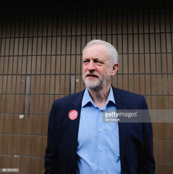 Labour leader Jeremy Corbyn waits to travel on the number 36 bus from Middlesbrough to Stockton on Tees on March 31 2017 in Middlesbrough England...