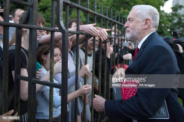 Labour leader Jeremy Corbyn waves to supporters after taking part in the BBC Election Debate hosted by BBC news presenter Mishal Husain at Senate...