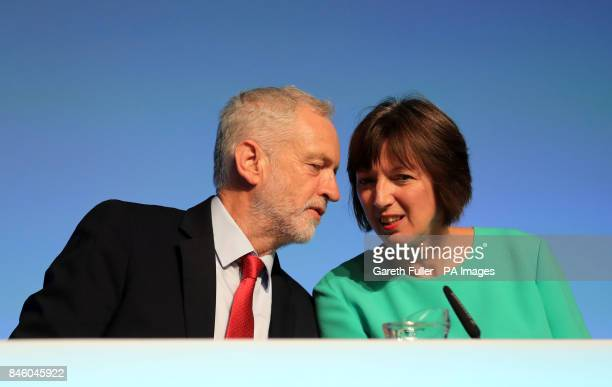 Labour leader Jeremy Corbyn with Frances O'Grady General Secretary of the British Trades Union Congress before speaking at the TUC conference at the...