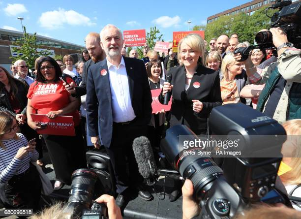 Labour leader Jeremy Corbyn with local candidate Rebecca LongBailey after getting off his battlebus as he arrives in Salford for a general election...