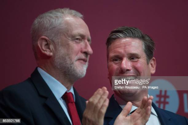 Labour leader Jeremy Corbyn with Shadow Brexit secretary Sir Keir Starmer at the Labour Party annual conference at the Brighton Centre Brighton