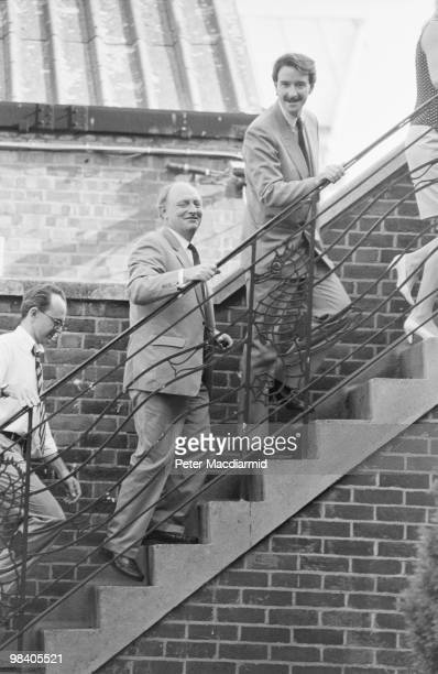Labour leader Neil Kinnock with Peter Mandelson at the NUS Clapham for a Labour Party meeting 26th July 1990