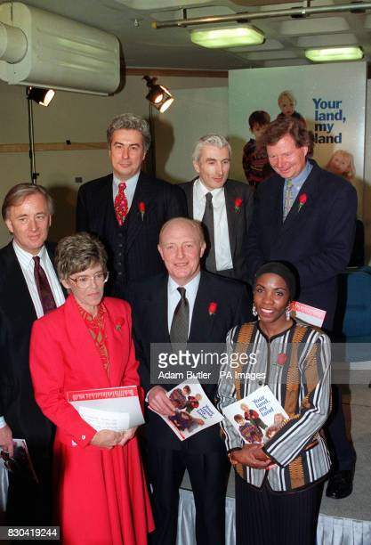 Labour leader Neil Kinnock with some of the leading figures from the fields of sport education business and law who contributed to the new party...