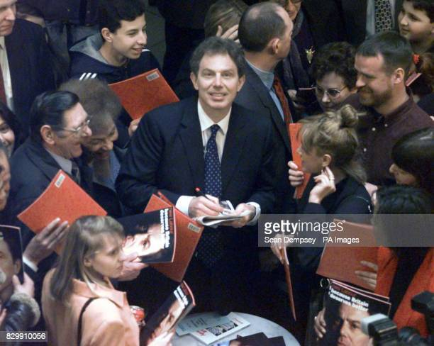 Labour Leader Tony Blair signs copies of the new Labour Manifesto at Whiteley's Department Store in central London today