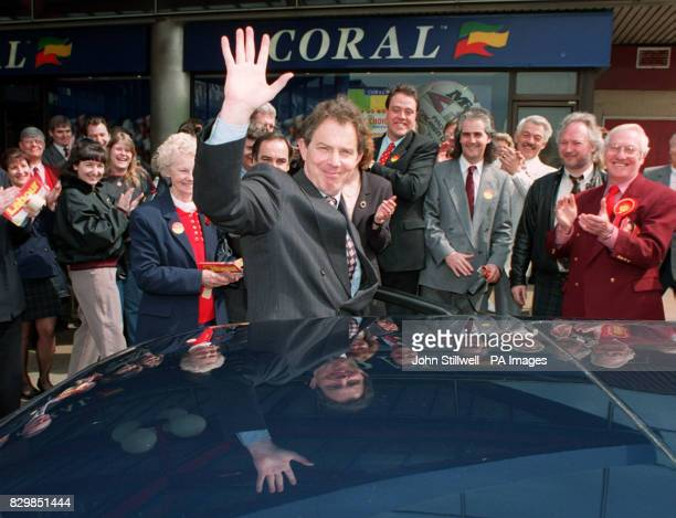 Labour leader Tony Blair waves to the crowd as he goes walkabout in Basildon Essex today He proclaimed that 'Essex man and woman' had come over to...