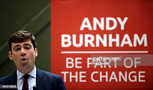 Labour leadership candidate Andy Burnham delivers a speech at the Peoples Museum on August 17 2015 in Manchester England Burnham said there was a...
