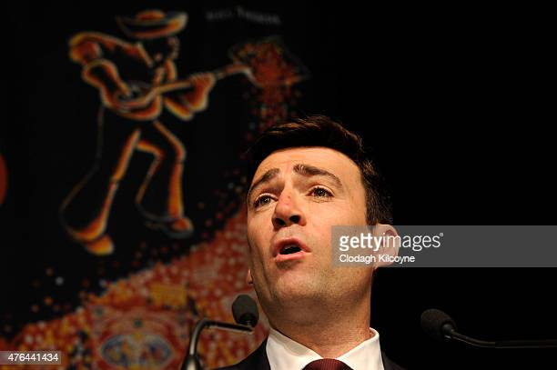Labour leadership candidate Andy Burnham speaks on stage at the Labour leadership hustings in Citywest hotel on June 9 2015 in Dublin Ireland A...