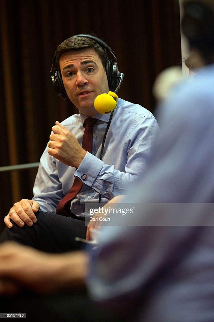 Labour leadership candidate <a gi-track='captionPersonalityLinkClicked' href=/galleries/search?phrase=Andy+Burnham&family=editorial&specificpeople=469823 ng-click='$event.stopPropagation()'>Andy Burnham</a> takes part in a radio hustings on August 25, 2015 in Stevenage, England. Candidates are continuing to campaign for Labour party leadership with polls placing left-winger Jeremy Corbyn in the lead. Voting is due to begin on the 14th of August with the result being announced on the 12th of September.