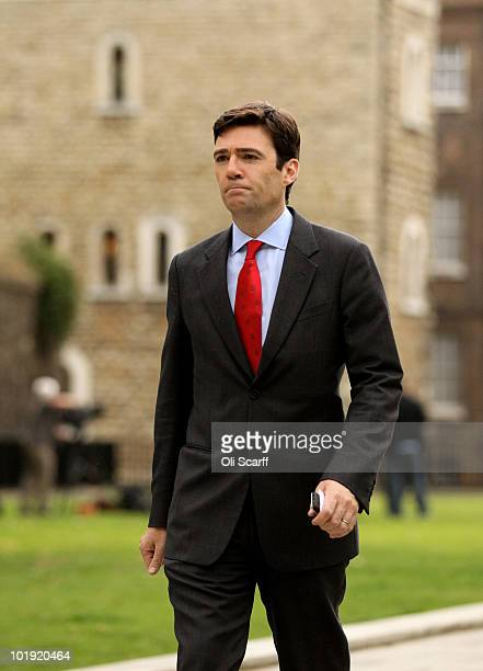 Labour leadership candidate Andy Burnham walks to a television studio near Parliament on June 9 2010 in London England A ballot will be taken of...