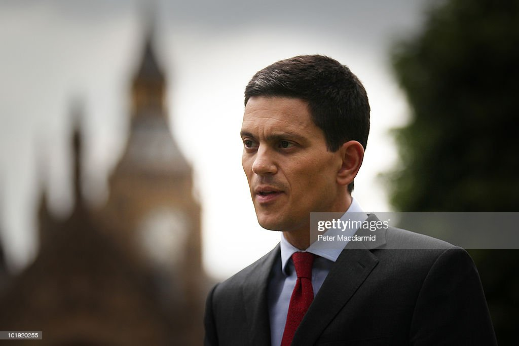 Labour leadership candidate <a gi-track='captionPersonalityLinkClicked' href=/galleries/search?phrase=David+Miliband&family=editorial&specificpeople=206702 ng-click='$event.stopPropagation()'>David Miliband</a> gives a television interview near Parliament on June 9, 2010 in London, England. A ballot will be taken of Labour party, trade union members, MPs and MEPs to select the next leader of the labour party from shortlist of: Diane Abbott, Ed Balls, Andy Burnham, <a gi-track='captionPersonalityLinkClicked' href=/galleries/search?phrase=David+Miliband&family=editorial&specificpeople=206702 ng-click='$event.stopPropagation()'>David Miliband</a> and Ed Miliband. The result of the ballot is due to be announced during Labour party conference on September 25, 2010.