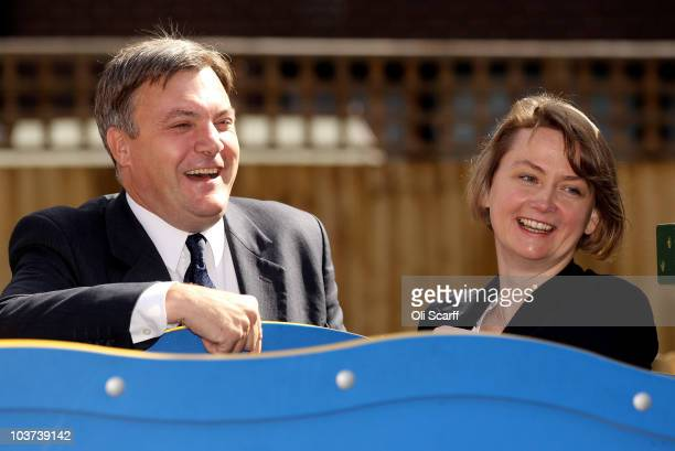 Labour leadership candidate Ed Balls and his wife Yvette Cooper the Shadow Work and Pensions Secretary visit a housing estate in Bermondsey on August...
