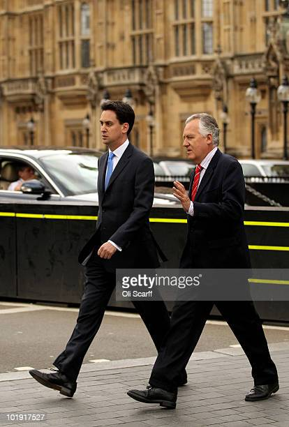 Labour leadership candidate Ed Miliband arrives to address the media outside Parliament at the close leadership nominations with former Welsh...